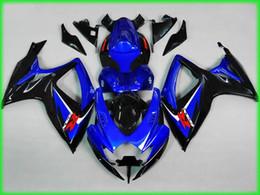 Venta al por mayor de Kit de cuerpo de carenado de inyección para 2006 2007 SUZUKI GSXR600 750 GSXR 600 GSXR 750 K6 06 07 Conjunto de carenados ABS negro azul MN28