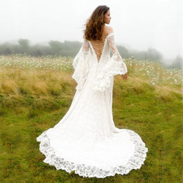 Victorian Lace Off Shoulder Wedding Gown Canada - Victorian Style Wedding Dresses A Line Off Shoulder Satin Lace Corset Bridal Gowns Vintage Country Long Bell Sleeves Dress for Brides