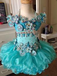$enCountryForm.capitalKeyWord NZ - Halter light blue beaded ruffle short sleeve organza ball gown cupcake toddler little girls pageant dresses flower girl for weddings glitz