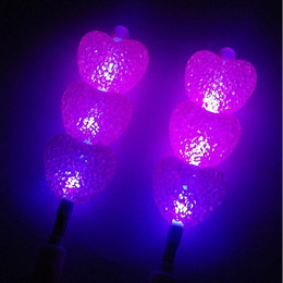 Flashing Wand Wholesale Canada - Kids Love Heart Particle LED Flashing Magic Wand Sticks Glow Stick Cheering Props Birthday Wedding Party Decor Supplies
