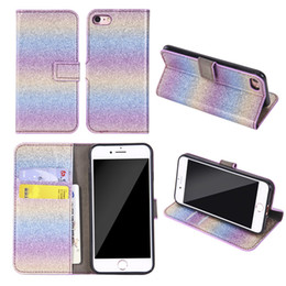 wholesale bling cell phone cases UK - Bling Glitter Wallet Leather Case Fashion Rainbow Gradient Card Stand Cell Phone Skin Cover for iPhone X 8 7 6 6S Plus Sumsung S7 S8 S9 Plus