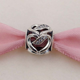 Ribbon style bRacelet online shopping - Valentines Day Silver Beads Ribbon Of Love Charm Fits European Pandora Style Jewelry Bracelets Necklace CZ Love heart Gifts