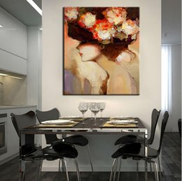 $enCountryForm.capitalKeyWord Canada - Beautiful Lady With Flower,Pure Handpainted Modern Abstract Protrait Art Oil Painting,Home Decor on High Quality Canvas size can customized
