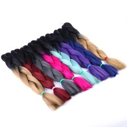 Brown Hair Braid UK - 10pcs lot 24inch 100g ombre color jumbo braiding hair two tone brown blonde green color synthetic box braids