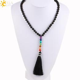 Diy chain tassel necklace online shopping - CSJA Natural Black Lava Rock Volcanic Stone Beads Long Necklace Chakra Tassel Pendants Mala Prayer Women Men DIY Meditation Jewelry E494