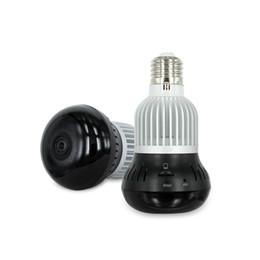 Wholesale HD P WIFI P2P Led lamp bulb IP camera degrees fisheye len D vision Home network panoramic camera two way communication