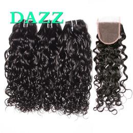 Venta al por mayor de DAZZ Brazilian Wave Wave Hair Bundles con 4x4 Lace closure Natural Ocean Wave Wet y ondulado paquetes de cabello humano con cierres