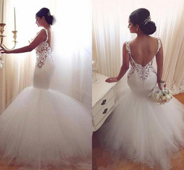 Barato Vestido De Noiva De Damasco De Sereia De Tule-Vintage2017 Vestidos de casamento Mermaid Low Back Sexy V Neck Lace Appliques Backless Vestidos de casamento Tulle Sweep Train White Beach Vestido de noiva