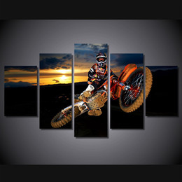 Best Canvas Prints Canada - 5 Pcs Set Framed HD Printed Best Action Motocross Sports Wall Art Print Poster Pictures Modern Canvas Painting For Kid Room