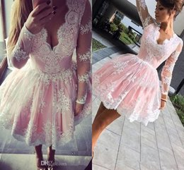 Wholesale Pink White Lace Floral Long Sleeve Homecoming Party Dresses Puffy Skirt Dubai Arabe Short Prom Occasion Dress Wear