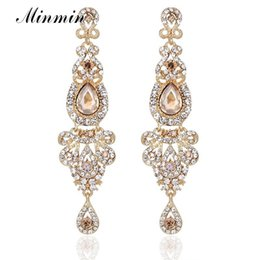 Chinese  Champagne Crystal Long Dangle Earrings Luxury Bridal Wedding Big Chandelier Pendant Earrings Jewelry for Women EH162 manufacturers