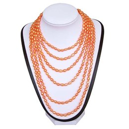 Pearl Double Strand UK - Hot 100 inch Long Real Pearl Necklace Handmade By Double Stranded Silk Thread