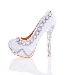 $enCountryForm.capitalKeyWord UK - 2017 Designer Pearl Shoes in White and Ivory Wedding Party High Heel Shoes with Silver Rhinestone Luxurious Prom Pumps Plus Size