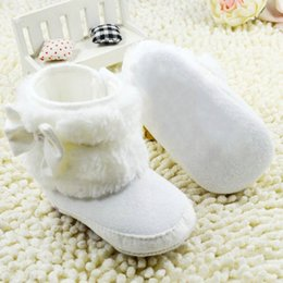 Barato Botas Recém-nascidas Por Atacado-Atacado- Newborn Baby Girl Bowknot Fleece Snow Boots Botas White Princess Shoes