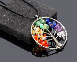 Wire Crystal Tree Canada - 7 colors Tree of Life Healing Crystal Wire Wrap Natural Gemstone Pendant Necklace for birthday gift wholsale
