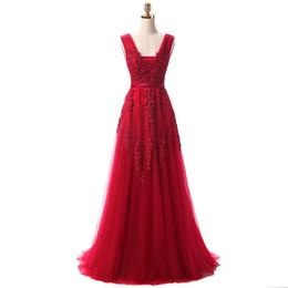 $enCountryForm.capitalKeyWord Australia - 2017 Red Evening Dresses Cheap Plus Size Burgundy Prom Dresses V-neck Backless Zipper Back Tulle Lace Floor-length A-line Sexy Dress