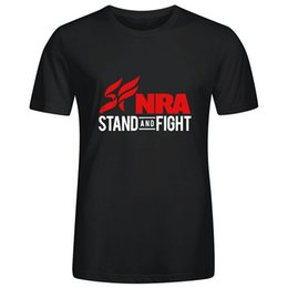 $enCountryForm.capitalKeyWord Canada - Personalized Design NRA Stand and Fight Image Print T Shirts Tee for Mens Boys Cotton Round Collar Funny Hip hop Cool