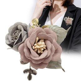$enCountryForm.capitalKeyWord Canada - Woman headdress hair Colorful plaid (jewelry) camellia flower brooch Korean fabric accessories all-match Brooch Pin H0161