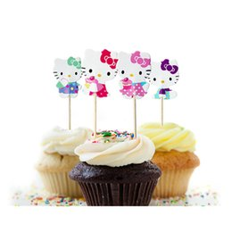 Barato Cupcakes Toppers Atacado-Atacado- 48pcs Cupcake Toppers Escolhe Decorações de festa de aniversário Kids Kitty Cat Set Evnent Party Favors Event Party Supplies