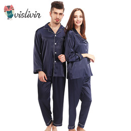 63db2736cf Wholesale- Vislivin Pajamas Women Silk Pajamas Sets Full Sleeve Sleepwear 2  Pieces Silk Homewear Men Turn-down Collar Couple Pijama Sets
