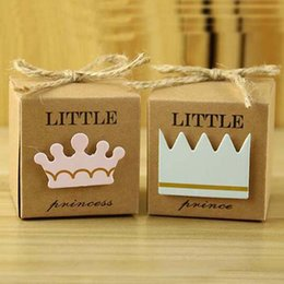 $enCountryForm.capitalKeyWord Canada - New Arrivals--100pcs lot Little Prince or Princess Crown Kraft Paper Favor Boxes gift boex Baby Shower Birthday candy box With Hemp Ropes