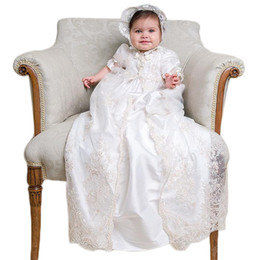 Chinese  Lovely Two Pieces Christening Dresses For Baby Girls Lace Appliques Floor Length Baptism Dress Satin First Communication Gowns In Stock manufacturers