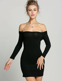 Mini Robe Empire Noir Pas Cher-Sexy Off Shoulder Dress Womens Stretch Mini Party Dress Tunique à manches longues Tight Fitted Clubwear Bodycon Dress Black Vestidos Wholesale 2956