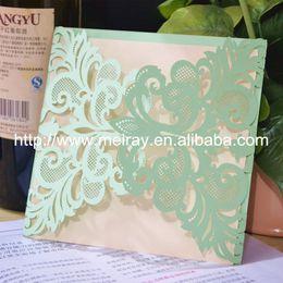 Discount Mint Green Wedding Decorations Wholesale  High Quality Mint Green  Luxury Wedding Invitations Laser Cut