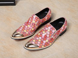 Christmas Gift Shoes NZ - 2017 New Arrival Men's Fashion Colorful Polka Dot Design Loafers Shoes Men Genuine Leather Nightclub Party Shoes Christmas Gifts
