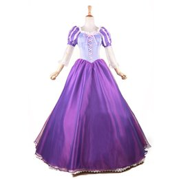 Robe De Bal D'anime Cosplay Pas Cher-Tangled Princess Rapunzel Costume Fairytale Adulte Robe de fête Anime Cosplay Costume Princesse Robe de soirée Halloween Party