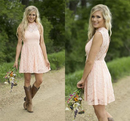 prom dresses cheap prices NZ - Modern Country Western Full Lace Peach Short Bridesmaid Dresses 2019 Sleeveless High Neck Wedding Party Dress Formal Prom Gowns Cheap Price