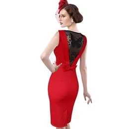 Robes De Cocktail D'été Pour Femmes Pas Cher-Fashion Summer Women Sexy Bandage Back Bow Butterfly Broderie Robe en dentelle Formal Occasion Cocktail Party Bodycon Pencil Dress