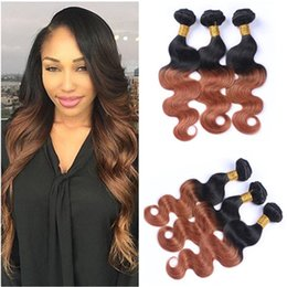 ombre human hair wefts Canada - Dark Root Medium Auburn Ombre Brazilian Human Hair Weave Bundles 3Pcs Body Wave 1B 30 Two Tone Ombre Virgin Human Hair Wefts Extensions
