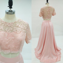 Robe Manches Longues Rose Formel Pas Cher-Superbe Blush Rose Deux Pieces Robe de Prom Robe à manches courtes à encolure en dentelle Long Robes de soirée formelle Prom Dressess Sweep Train