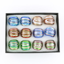 $enCountryForm.capitalKeyWord NZ - New Design Glass Rings Swirl Lampwork Gold Sand Glass Rings for Jewelry Making 12pcs box, MC1013