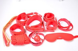 Restricción De La Boca Bdsm Baratos-BDSM Kit 7pcs / Set Bondage para Foreplay Restraint Kit PU Esclavo muñeca tobillo puños Collar Whip Rope Blindfold Mouth Bug Gag juguete Juguetes sexuales para adultos
