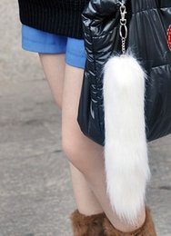 d744106bcb22 35 cm Large Fox Tail Fur Tassel Bag Tag Keychain Strap Chain Faux Fur Plush  Car Key Chain Ring Pendant For Bag Charm