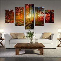 2017 5 Panel Forest Painting HD Art Printed On High Quality Canvas,Home Wall  Decor Size Can Be Customized