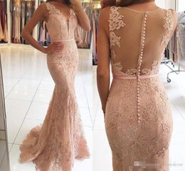 Vintage Back Button Dress NZ - Modest Full Lace Mermaid Evening Dresses 2017 With Beaded Covered Buttons Back Plus Size Bridesmaid Prom Party Gowns With Blush Pink Sash