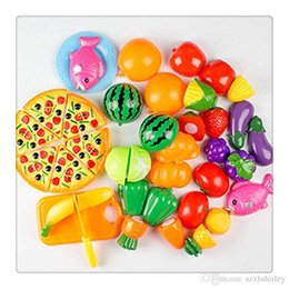 fruit cutting toy for kids Canada - Hot 24Pcs Plastic Fruit Vegetable Kitchen Cutting Toy Cutting Early Development Education Toy For Baby Kids Children Free DHL
