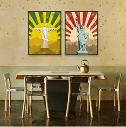 Painting Christ Canada - Jesus Christ Statue Liberty Modern Vintage Retro Hippie Hipster A4 Posters Prints Hotel Bar Canvas Painting Wall Art Decor Gifts