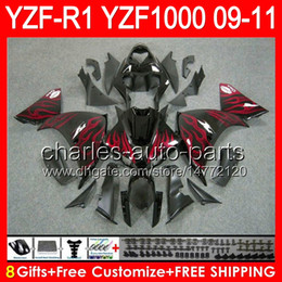 $enCountryForm.capitalKeyWord Canada - 8gifts red flames Body For YAMAHA YZFR1 09 10 11 YZF-R1 09-11 95NO65 YZF 1000 YZF R 1 YZF1000 YZF R1 2009 2010 2011 TOP glossy black Fairing
