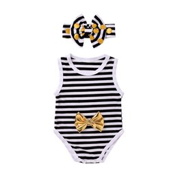 Barato Meninos Bonitos Do Verão Camiseta-Mikrdoo Summer Baby Rompers Infant Kids Meninos Meninas Striped Romper Hairband sem mangas Jumpsuit Cute Outfits Cotton Vest Clothes Top Ternos