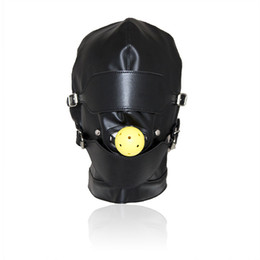 ball for game UK - Top Grade Leather Sex Toys Headgear With Mouth Ball Gag BDSM Erotic Leather Sex Hood For Men Adult Games Sex SM Mask For Party Cosplay