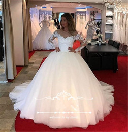 $enCountryForm.capitalKeyWord Canada - Hot Sale Dubai Luxury Appliques Flowers Ball Gown Wedding Dresses Long Sleeve Muslim Scoop Neck Wedding Dress Arab Wedding