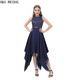 beaded chiffon prom dresses NZ - Navy Chiffon Knee Length Evening Dresses New Arrival Sequins Beaded Sleeveless Women Short Party Prom Dresses B019