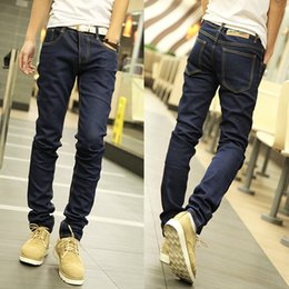 Discount clothes trading - Foreign trade fashion joker jeans Han edition fashion jeans trousers of pure color cultivate one's morality men&#03