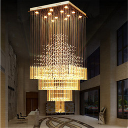 $enCountryForm.capitalKeyWord NZ - Modern K9 Crystal Chandelier Lights Square LED Pendant Lamp Stair Staircase Lamp Home Living Room Lighting Modern LED Ceiling Light Fixtures