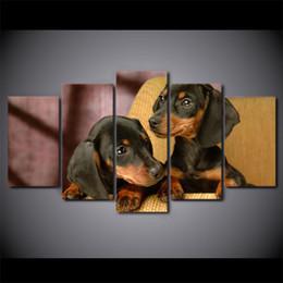 $enCountryForm.capitalKeyWord Canada - 5 Pcs Set Framed HD Printed Dachshund Dog Breed Animal Canvas Art Painting Poster Picture Room Wall Quadro Decorativo