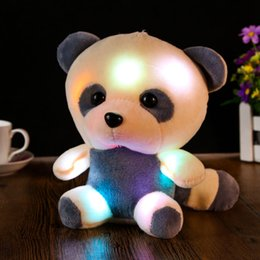Discount large cute teddy bears - Wholesale- Large Cute New Teddy Bear Panda Doll Bear Hug Colorful LED Flash Light,Led Plush toy FCI#